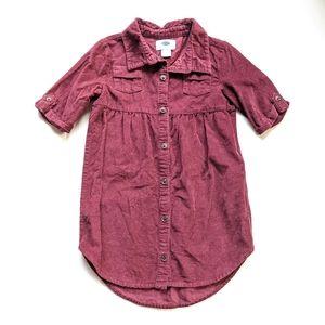 OLD NAVY girls 5t burgundy corduroy shirt dress
